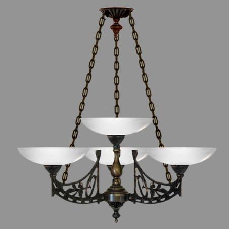 Light Pendant Art Nouveau 4 light with opal dish glass
