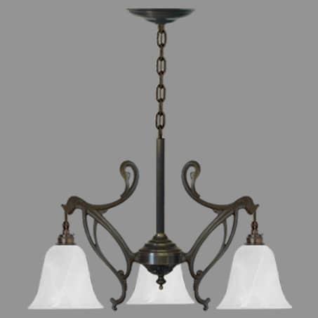 Art Nouveau 3 arm Light Pendant Opal Flake Shades on chain suspension.