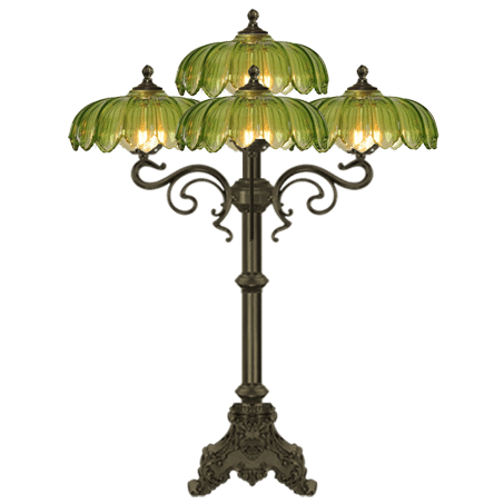 Art Nouveau Antique finish table lamp with 5 arms Green Glass shades