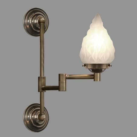 Art Nouveau Wall Light with Flambeau Glass Shade