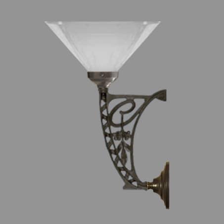 Art Nouveau Wall Light with Opal cone Glass Shade