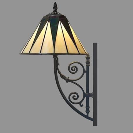 Art Nouveau Wall Light with leaded shade