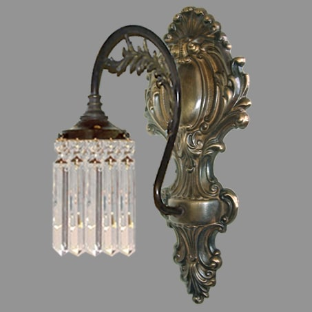 Single Arm Crystal Lozenge Antique Wall Light
