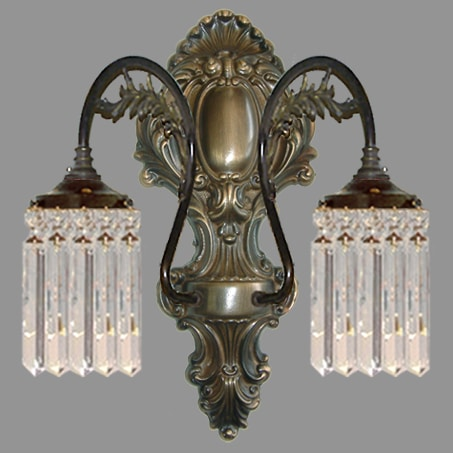 Double Arm Crystal Lozenge Antique Wall Light.