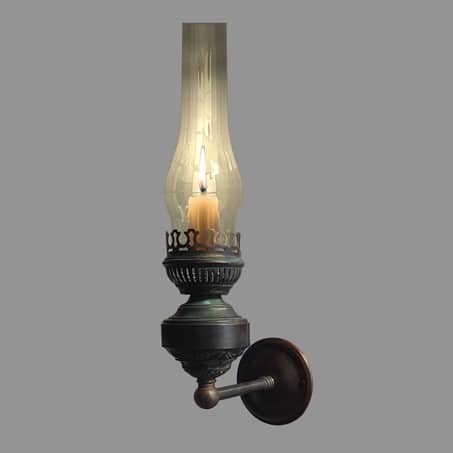 Rustic single candle wall light