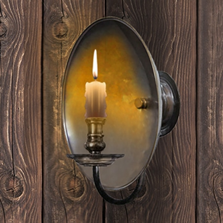 Rustic candle reflector wall light