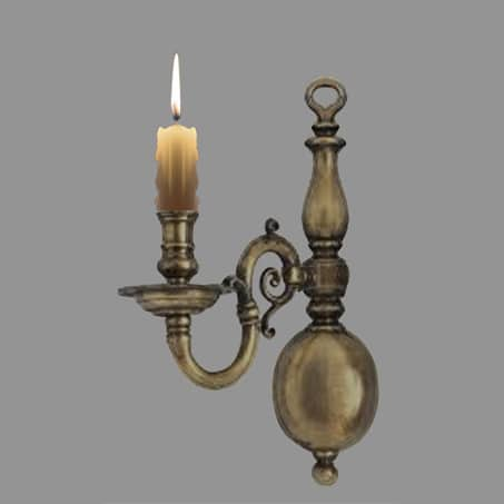 Victorian single arm flemish style wall light candles