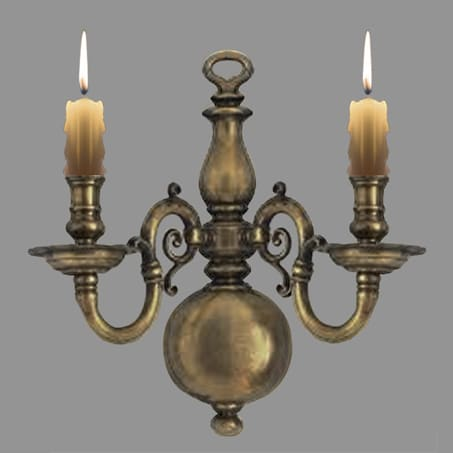 Flemish antique double wall light wax candle style