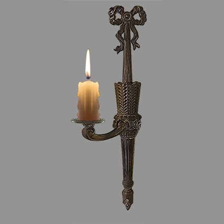 Victorian single arm wall light candles