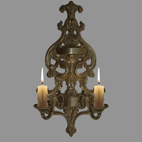 Victorian 2 arm wall light candles