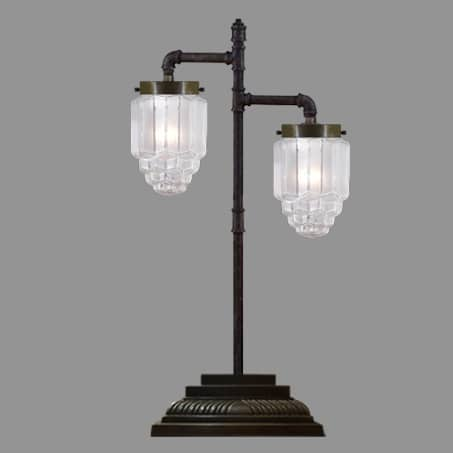 Double Arm Lamp with Art Deco Shades