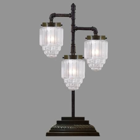 3 Arm Antique Desk Lamp With Art Deco glass shades