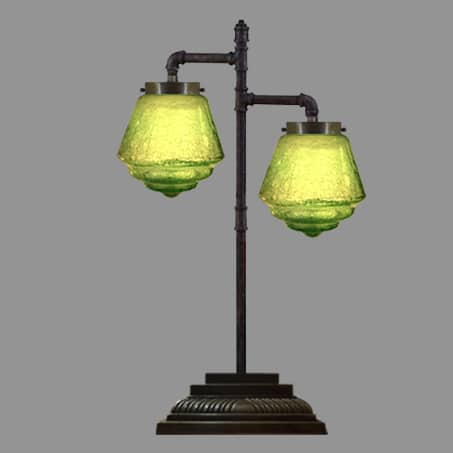 2 Arm Antique Desk Lamp with Green glass shades