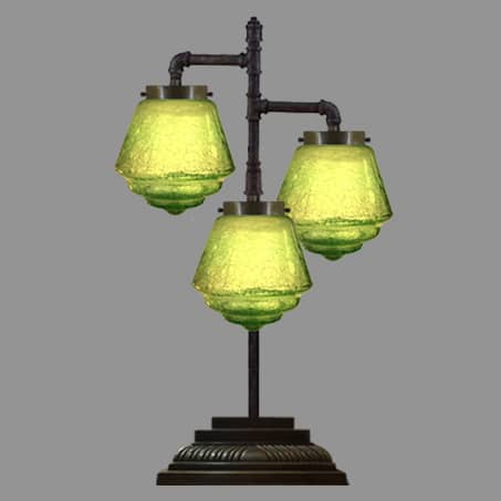 3 Arm Desk Lamp with Green Glass shades