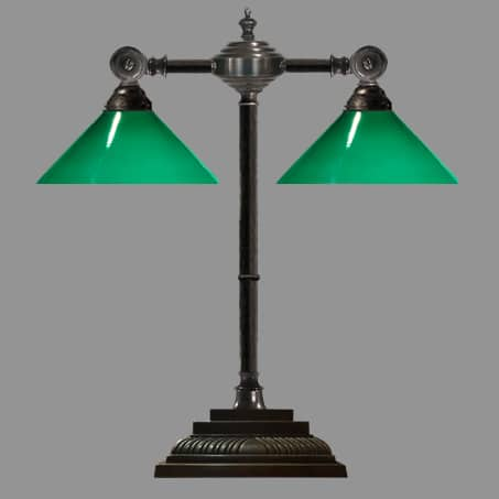 Double Desk Lamp with Green Cone Shade