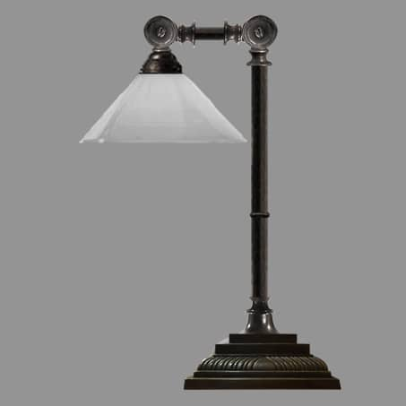 Desk Lamp with Opal Cone Shade