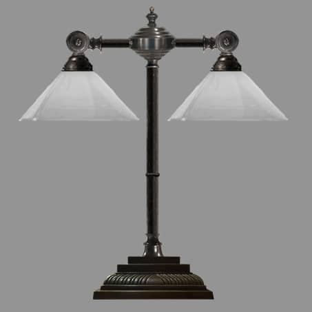 Double Desk Lamp with Opal Cone Shade