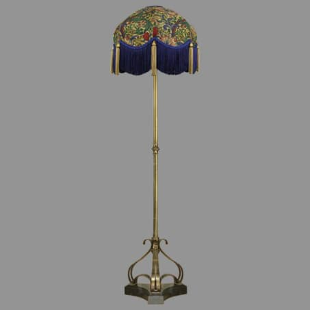 Floor-lamp floral shade blue tassle