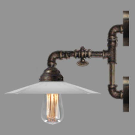 Industrial Wall Light with Opal cone shade