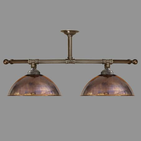 Industrial Pendant two Light Bar Copper Shades.