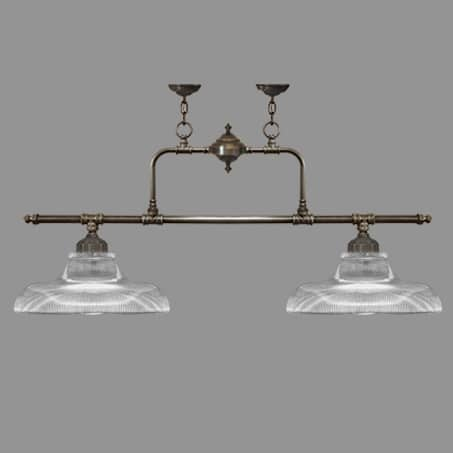 Lighting Pendant Double Bar Ribbed Glass Antique