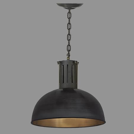 Black 350mm Dome Industrial single Pendant Chain Suspension