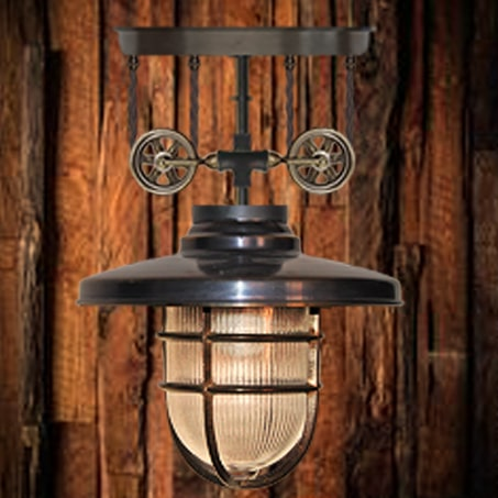 Antique Industrial pulley wheel lighting pendant