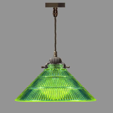 Industrial Pendant with Green Ribbed glass Cone shade.