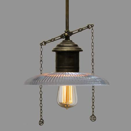 Industrial Pendant Clear Flat Holophane Glass Gas Pull Chains.