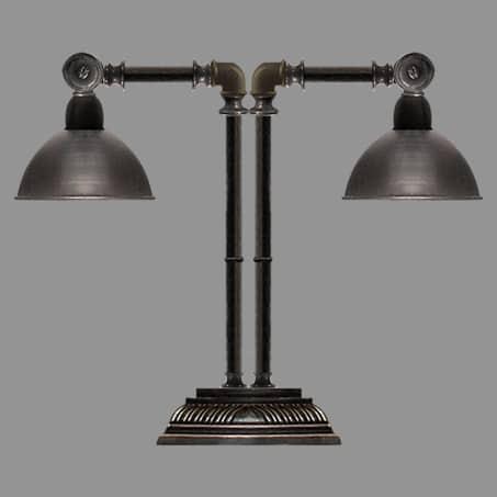 Double Industrial Antique Pedestal Lamp