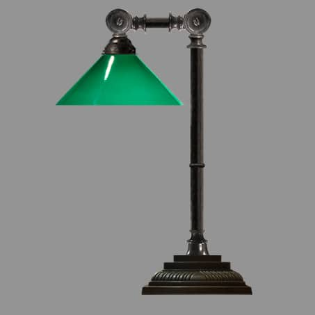 Industrial Lamp antique with green cone glass shade
