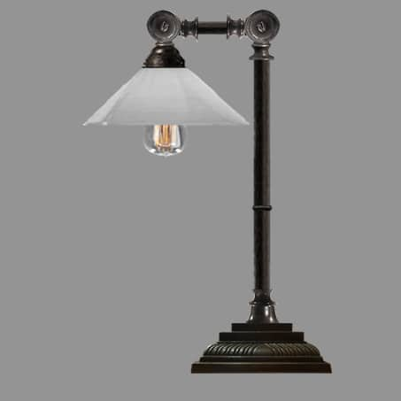 Industrial Lamp antique with opal cone glass shade