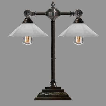 Industrial Lamp double arm antique with opal cone glass shades