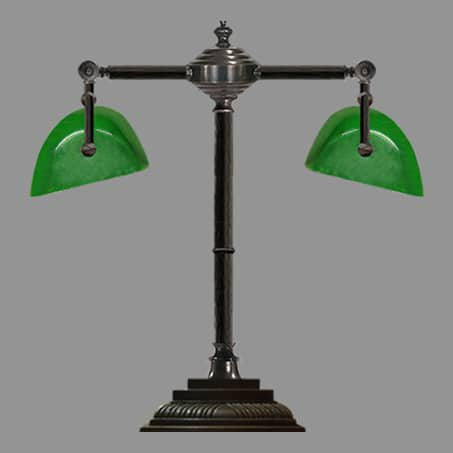 Industrial Table Lamp double with green trough glass