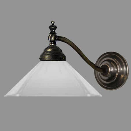 Antique Finish Brass wall light with Opal Glass Cone Shade