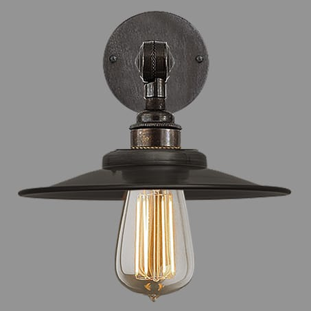 wall light shallow metal cone shade