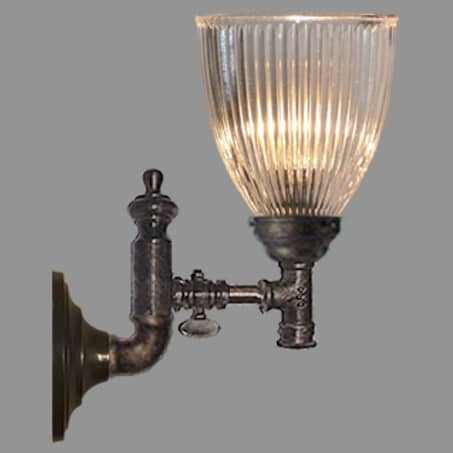 Gas Tap Wall light Tall Hollophane Glass Shade.