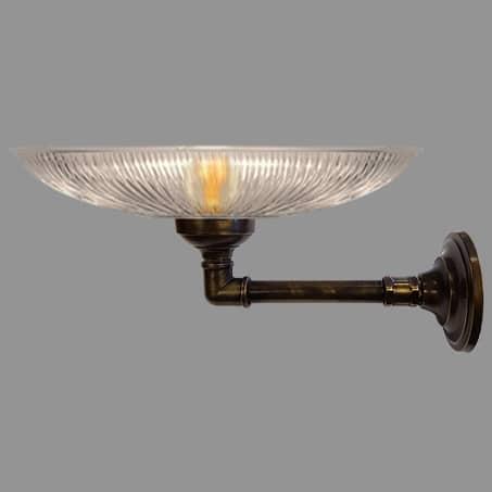 Wall Light Ribbed Dish Glass shade LED Lamp