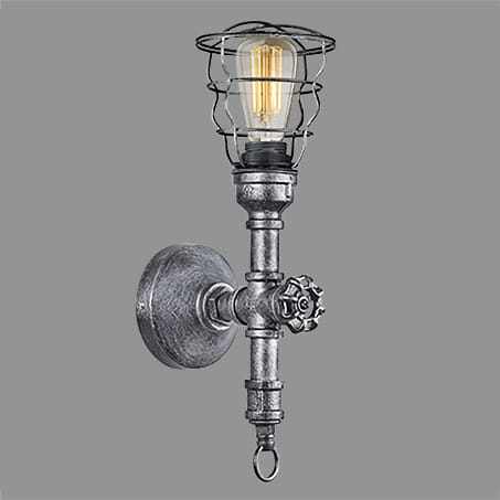 Nickel Wall Light Caged Filament Lamp