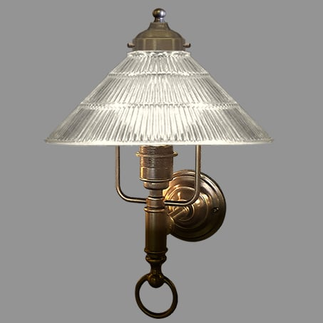Wall Light Ribbed Cone Shade Antique.