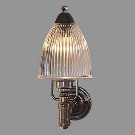 Single Antique Industrial Wall Light Long Holophane Glass
