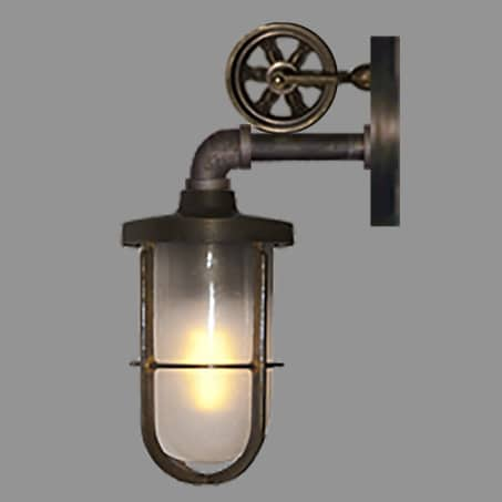 EXTERIOR CAGED WALL LIGHT ANTIQUE WITH PULLEY WHEEL