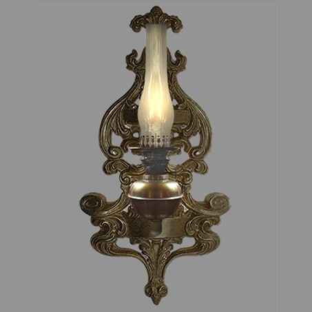 Rustic Oil wall light with Decorative Wall Plate
