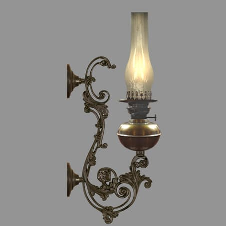 Oil wall light with long decorative scroll arm vertical