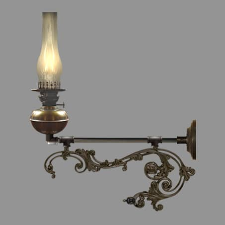 Oil wall light with long decorative scroll arm