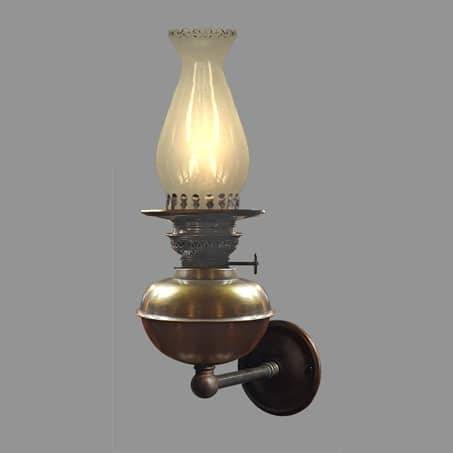 Oil Type wall light with fluted glass chimney