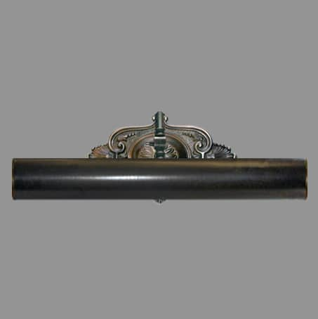 Antique finish 320mm Picture light with decorative wall plate.