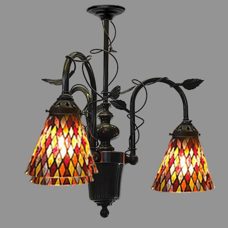 Beautiful 3 arm pendant with leaded type shades leaf pattern design
