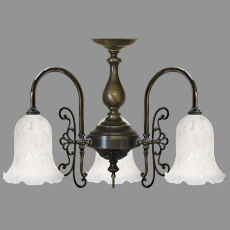 Traditional 3 Arm Flush Pendant White Flake Bell.