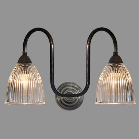 Double Antique Swan Neck wall light with Long Holophane Dome.